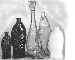 le glass fish bottle made in the 1960 1970 period in europe