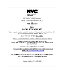 Rfp Local Assessments Educational Assessment Request For Proposal