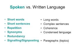 language skills written reports letters essays memos notes  3 spoken vs