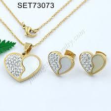 china new custom stainless steel jewelry heart shaped 3161 stainless steel jewelry set metal charm decorative zircon crystal diamond pendant