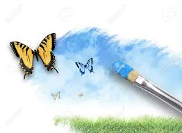 pincel pintando. un pincel artista está pintando resorte, escena de la naturaleza del verano en p