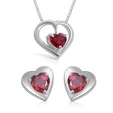 heart shaped garnet earring pendant with silver finished chains