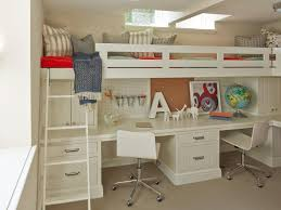 double bunk bed with space underneath. Contemporary Bunk Elegant White Polished Wooden Loft Beds With Stairs And Desk Underneath Be  Equipped Double Fiberglass Swivel Chairs To Bunk Bed Space
