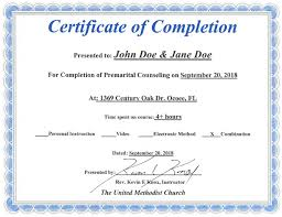 What Is Course Completion Certificate Florida Premarital Course Online Licensed Provider Only