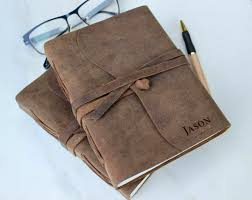 engraved leather journal personalized notebook 1