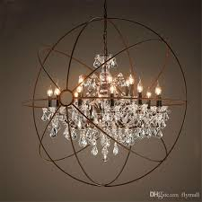 country hardware vintage orb crystal chandelier lighting for modern household iron globe chandelier plan