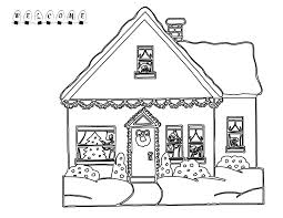 Gingerbread House Coloring Page 2 Christmas Colour In House