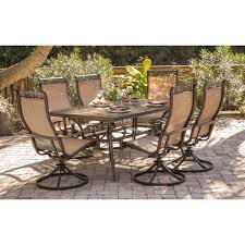 monaco 7 piece dining set with six swivel rockers and a 68 x 40 in dining table mondn7pcsw 6