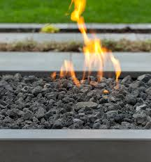 modern fire pit lava rock