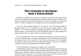who is responsible for king duncan s murder macbeths downfall  document image preview