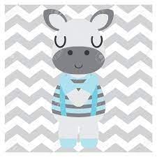 Cute Zebra Boy On Chevron Background ...
