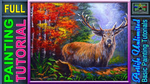 acrylic painting basic male deer with forest and autumn trees painting tutorial for beginners