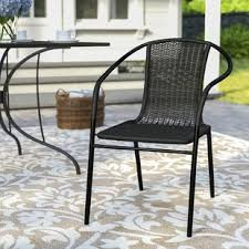 Outdoor metal chair Bistro Acadian Stacking Patio Dining Chair The Home Depot Patio Chairs Seating Youll Love Wayfair