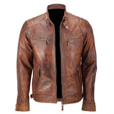 men s biker quilted vintage distressed motorcycle cafe racer leather jacket