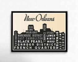 new orleans skyline art print new orleans typography quote poster print city map print gift 12 x 18 on map of new orleans wall art with new orleans map art etsy