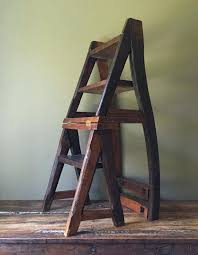 reclaimed primitive wood step ladder chair folding library seat more stool plans