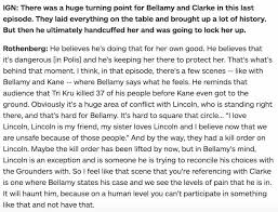 best the bellarke interview crack etc images on the 100 interview