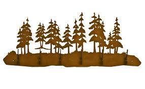 Pine Coat Rack Pine Tree Forest Scene Six Hook Metal Wall Coat Rack 18