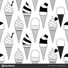 モノクロは白い背景に分離された果物やアイスクリームのイラスト夏の