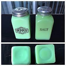 old great depression glass jadeite green milk glass salt pepper shakers mck