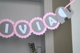Baby Shower Banner name, Elephant baby GIRL shower in baby Pink Grey and  White,