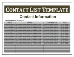 Office Phone Extension List Template