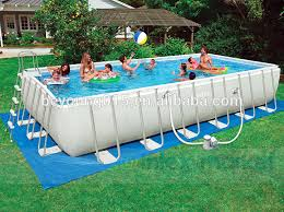 Intex 32 X 16 X 52 Ultra Medal Frame Rectangular Swimming Pool