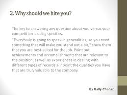 why should we hire you interview question the most common interview question s by bally chohan job portal