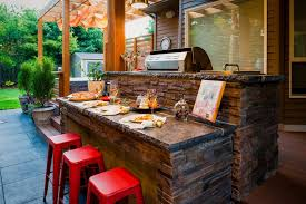 outdoor kitchen siding. outdoor kitchen bar patio contemporary with brown siding wall clocks