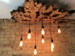 wooden chandelier lighting. Handmade Extra Large Live-Edge Olive Wood Chandelier. Rustic And Industrial Light Fixture By 7M Woodworking | CustomMade.com Wooden Chandelier Lighting E