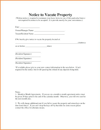 Sample Day Notice To Vacate Apartment Letter Template