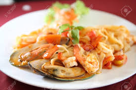 Seafood Pasta With Tomato Sauce Stock ...