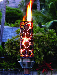 outdoor gas tiki torch hand crafted tropical flower tiki torch