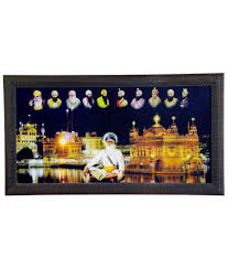 singh suppliers golden temple night view and 10 sikh guru sahib acrylic photographs with frame single
