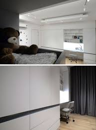 this modern kids bedroom features a custom designed built in bunk bed with stairs