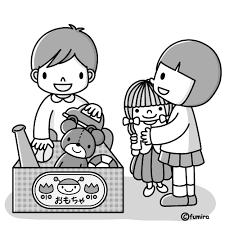 おもちゃお片づけモノクロ 子供と動物のイラスト屋さん わたなべふみ