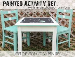 Image Cute Kid Create Fabulous Childrens Activity Set Using Mismatched Pieces See How Did It At Pinterest Create An Activity Table Set For Kids With Mismatched Furniture