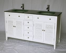 60 inch white bathroom vanity cottage shutter beach style glass top 60 wx21 dx35 h s112860g