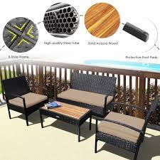 4 pieces patio rattan conversation set