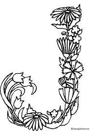 Alfabet Bloemen Kleurplaat Litere și Cifre Decorative Bloem