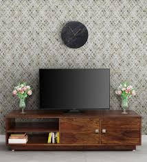Image Solid Wood Pepperfry Greta Solid Wood Entertainment Unit In Provincial Teak Finish By Woodsworth