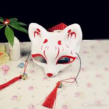 Mask Decorating Supplies Plastic Pvc Masks Japanese Anime Cat Fox Shape Half Face Mask With 33