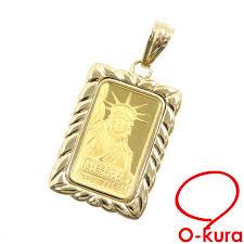 gold ingot pendant top las k18yg frame k24yg 7 7 g 18 karat gold 24 karat gold yellow gold 750 necklace bra statue of liberty deep