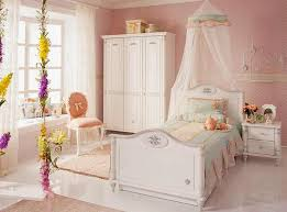 childrens pink bedroom furniture. Pink Walls, White Painted Wood Furniture, Kids Bed With A Canopy And Curvy Details In Classic Style Childrens Bedroom Furniture