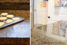 i sprayed rock it oil stone on the counter let it sit for a bit then wiped it off and my counters where clean it was seriously amazing
