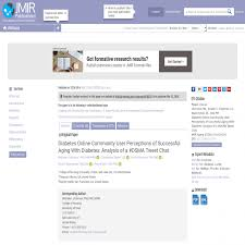 Aging Analysis Diabetes Online Community User Perceptions Of Successful Aging With