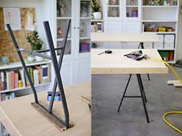 diy table with plywood top and ikea lerberg trestle legs