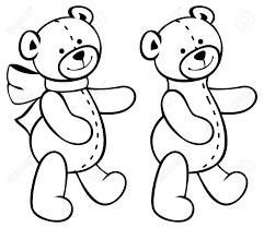 かわいいテディベア子供のおもちゃ概要輪郭イメージ ラスターのクリップアート