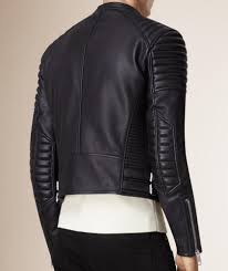 asymmetrical zipup padded shoulders racer black leather jacket