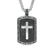 effy collection men s black sapphire cross frame dog tag pendant in sterling silver 24